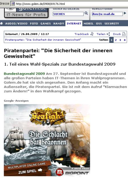 Piratenwerbung auf Golem
